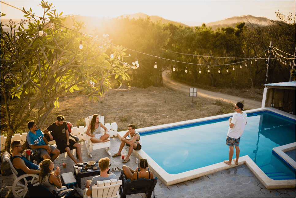 coliving gathering and barbecue at the pool
