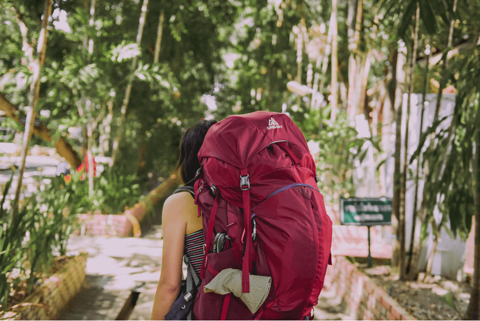backpacker leaving on a journey